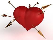 Red Heart With Multiple Gold Arrows №3 Stock Photo
