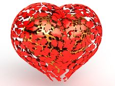 Free Fragments Of Red Hearts Around The Golden Heart Royalty Free Stock Photos - 18197308