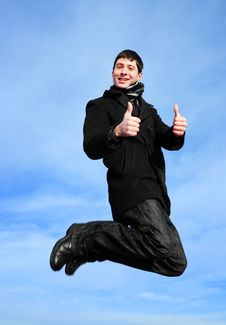 Free Young Man Jumping Thumbs Up Royalty Free Stock Photos - 18197488