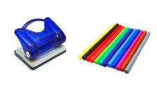 Hole Puncher And Soft-tip Pens Stock Photos