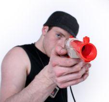 Free A Man Shooting A Gun Royalty Free Stock Image - 1820106