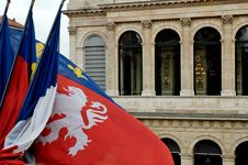 Free Lyon Flag In The Wind Royalty Free Stock Photos - 1821808