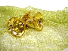 Free Golden Christmas Handbells On Green Background Stock Photo - 1822660