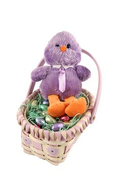 Free Chick In Easter Basket Royalty Free Stock Images - 1825029