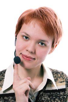 Free Beauty Girl Operator With Headphones Royalty Free Stock Image - 1827896
