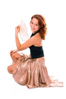 Free Beauty Gedheaded Girl With Fan Stock Images - 1827994