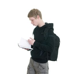 Free Male Student Holding Some Notebooks Stock Images - 18200574