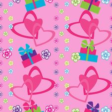 Free Seamless Pattern With Hearts And Gifts Stock Image - 18200591