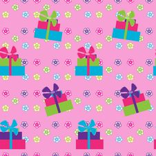 Free Seamless Pattern With Giftson Pink Background Royalty Free Stock Images - 18200599