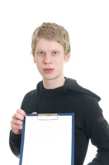 A Young Man Holds A Clipboard Stock Photos