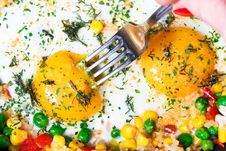 Free Fried Eggs With Vegetables Royalty Free Stock Photography - 18201777