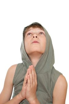 Teen Prays To God. Stock Photo
