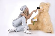Free Emotional, Glamour Girl With A Toy Stock Images - 18202664