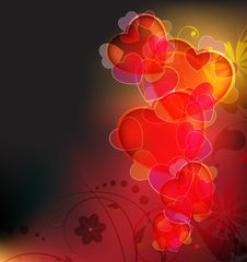 Free Flaming Hearts And Floral Pattern Stock Image - 18202681