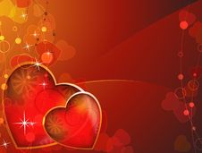 Free Transparent Red Background With Bright Hearts Stock Image - 18202771