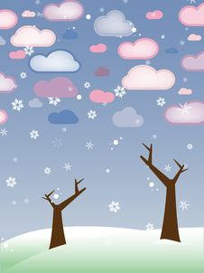 Free Retro Snowy Landscape With Leafless Trees Winter Royalty Free Stock Photo - 18202845