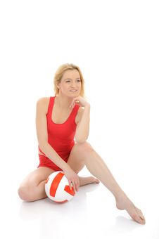 Free Beautiful Sporty Girl With Volleyball Ball. Stock Photos - 18203083
