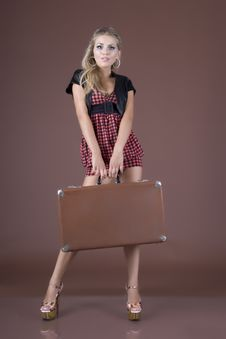 Free Girl With A Suitcase Stock Photo - 18203120