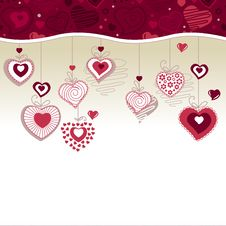 Greeting Card With Hanging Hearts Stock Image