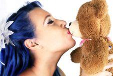 Free Beautiful Woman Kissing Bear Stock Photo - 18204780
