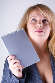 Woman Holding Notebook Royalty Free Stock Photos