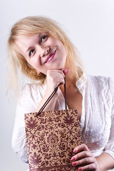 Free Girl Holding Bag Royalty Free Stock Image - 18206766