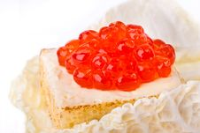 Free Canape With Salmon Caviar In A Salad List Royalty Free Stock Images - 18207049