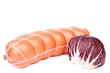 Free Cooked Sausage And A Radicchio Salad Head Stock Image - 18207141