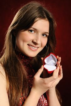 Free Woman With A Heart Gift Royalty Free Stock Photography - 18207347