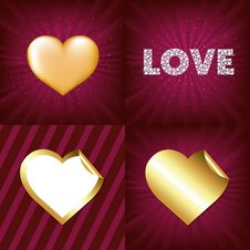 Free Gold Hearts Royalty Free Stock Photography - 18207877
