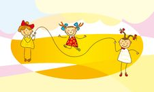 Girls Jump With A Skipping Rope Royalty Free Stock Photo
