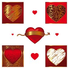 Vector Set Of Different Valentines Hearts Stock Image
