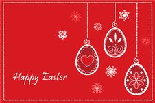 Free Easter Red Eggs In Happy Easter Frame Royalty Free Stock Photos - 18209818