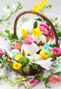 Free Basket With Easter Eggs And Cake Royalty Free Stock Image - 18219346