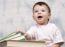The Small Child With Books Royalty Free Stock Image