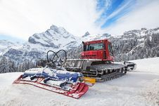 Machine For Snow Preparation Royalty Free Stock Photography