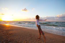Free Beautiful Girl  On Beach Royalty Free Stock Photo - 18213315