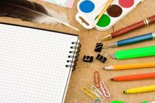 Set Of School Accessories On Wood Stock Photos