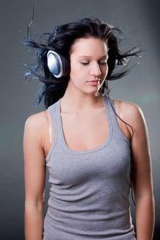 Free Girl Enjoys Music Stock Image - 18213521