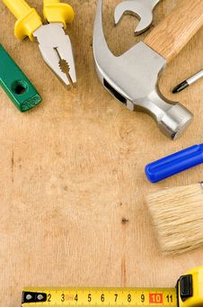 Free Tools And Instruments On Wood Royalty Free Stock Image - 18213726