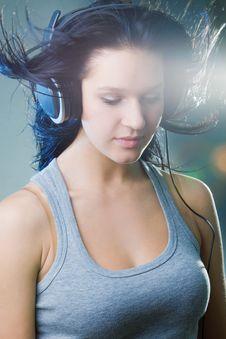 Free Girl Enjoys Music Stock Photography - 18213742