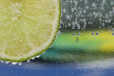 Lime And Bubbles Macro Stock Image