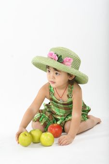 Free Girl And Apples Royalty Free Stock Image - 18214466
