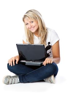 Free Girl With Laptop Royalty Free Stock Photo - 18214625