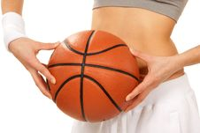 Free Basketball In Beautiful Woman Player Hands Stock Images - 18215064