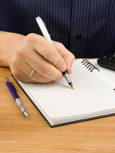 Free Male Hand Writing By Pen On Notebook Stock Photo - 18215240