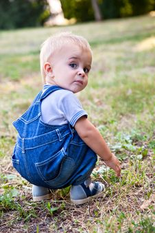 Free A Boy Is Looking For Something In The Grass Stock Photos - 18215483