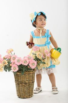 Free Girl And Flowers Stock Image - 18216031