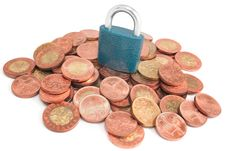 Free Money Pile Under Padlock Royalty Free Stock Images - 18216499