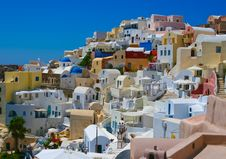 Free Colourful Panorama Of Oia Village Stock Image - 18217221